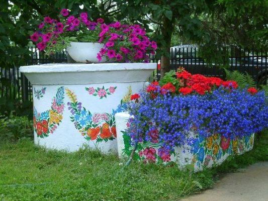 оформление колодца цветами