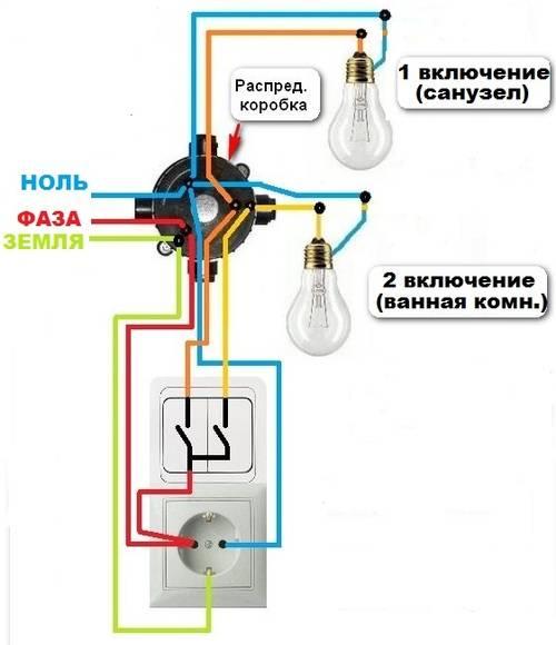 Соединение выключателя с лампочкой