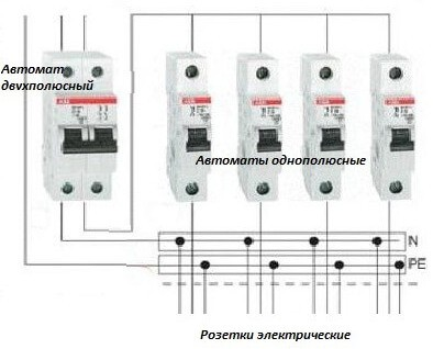 Схема подключения автоматов
